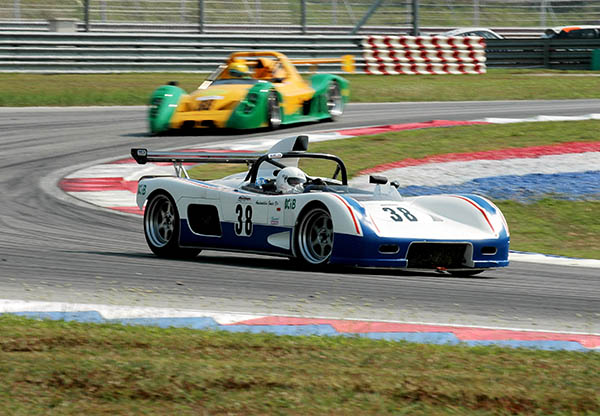 Two racing cars on a race track