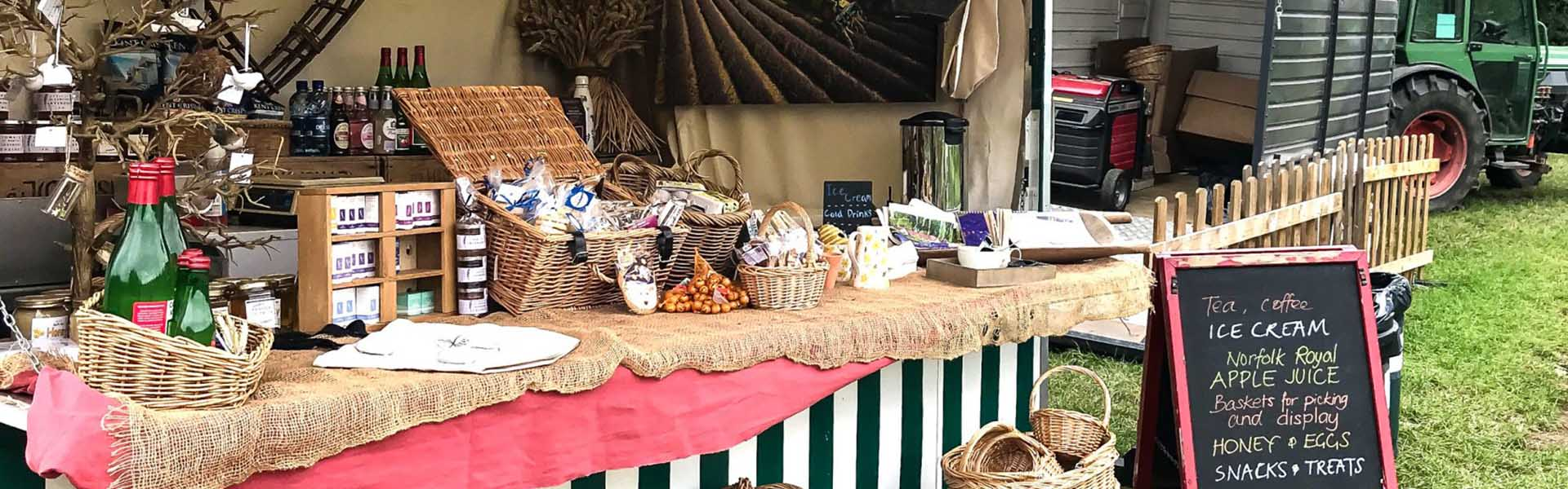 Market stall at Castle Farm displaying food products