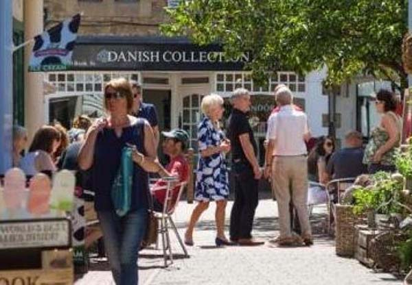 Shoppers in the street at Blighs Meadow, Sevenoaks