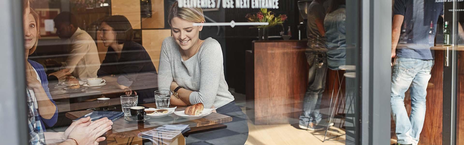 Women enjoying refreshments in a cafe