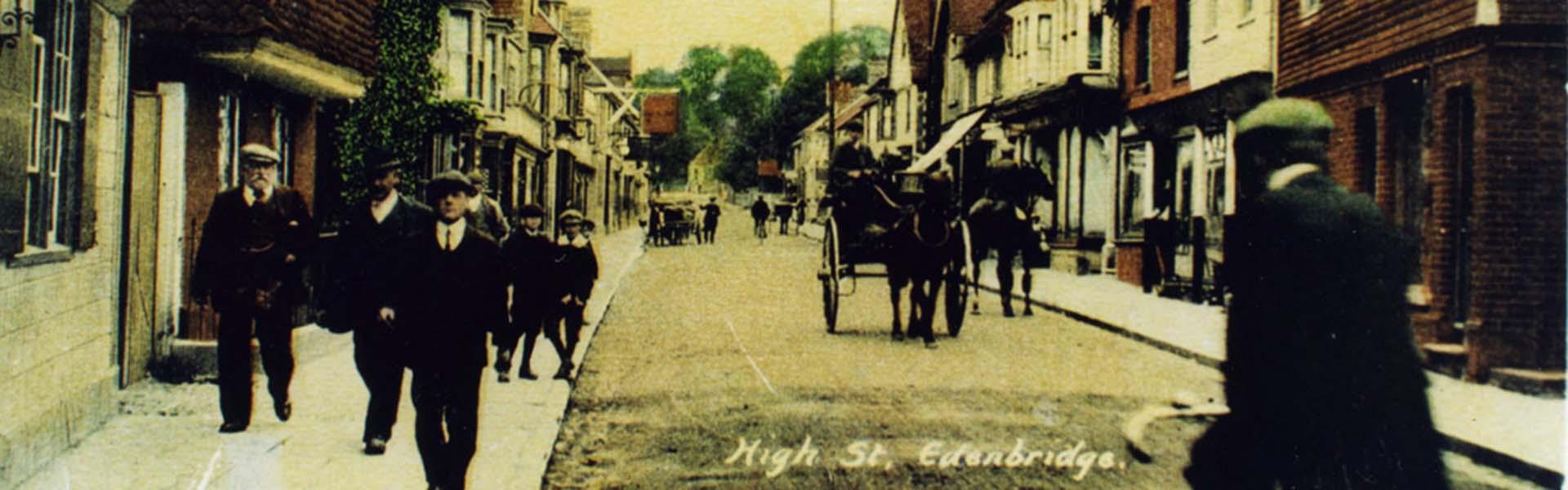 Sepia photograph of Edenbridge High Street