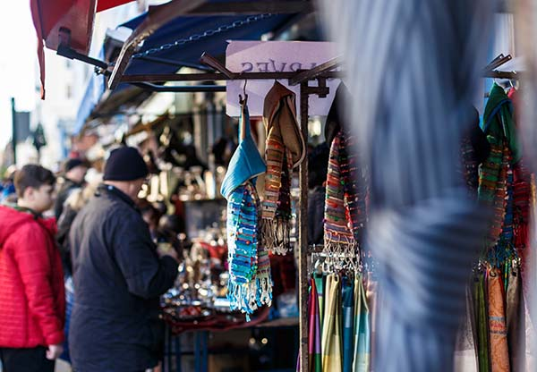 view of busy market stalls