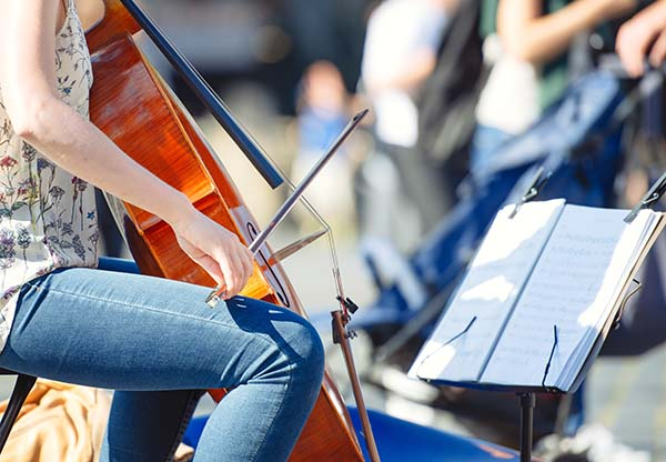 Playing Cello at a music festival